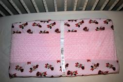 "32"" CHANGING PAD COVER M/W MINNIE MOUSE & PINK MINKY DOT FLE"