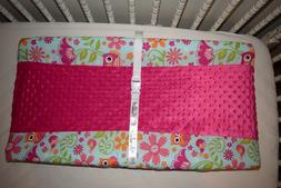 "32"" CHANGING PAD COVER M/W  PINK CHEVRON OWLS & PINK MINKY D"
