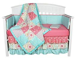 Gia Floral Coral/Blue 8-In-1 Baby Girl Crib Bedding Collecti