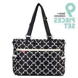 SoHo diaper bag Charlotte 9 pieces nappy tote travel bag for