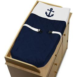 Baby Changing Pad Cover for Anchors Away Nautical Navy and W