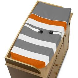 Baby Changing Pad Cover for Modern Gray and Orange Stripe Co