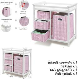Baby Changing Table With Drawer Dresser Basket Set Changing