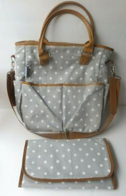 Mi Amor Baby Diaper Bag Tote Changing Pad Gray White Dots Fa