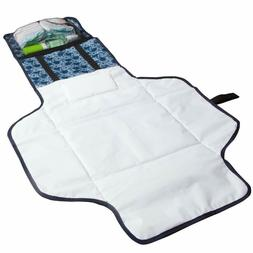 Baby Diaper Changing Pad - Zip Pocket and Head Rest - Portab
