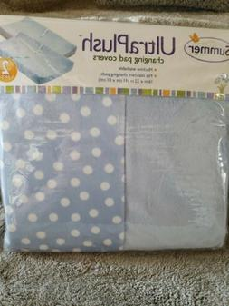 Baby/ Infant Ultra Plush Changing Pad Cover 2-Count, Blue &