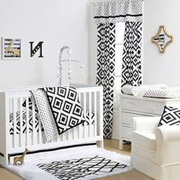 Black and White Tile Print 4 Piece Baby Crib Bedding Set by