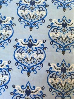 blue small damask changing pad cover nursery