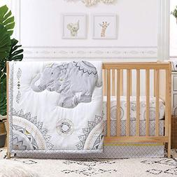 Boho Grey Elephant 3 Piece Baby Crib Bedding Set by The Pean