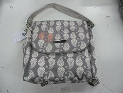 Petunia Pickle bottom Boxy Backpack gray coral diaper bag RE