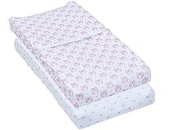 Changing Pad Cover, 2 Pack Pink Owls & Hearts Fitted Soft Je