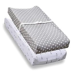 Changing Pad Cover, 2 Pack, 100% Jersey Cotton Unisex Sheets