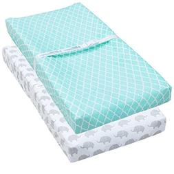Changing Pad Cover, 2 Pack Mint Quatrefoil & Elephant Fitted
