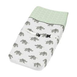 Changing Pad Cover for Mint Grey White Watercolor Elephant S
