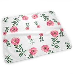 LXXYZ Changing Pad Red Roses Garden White Portable Diaper Ch