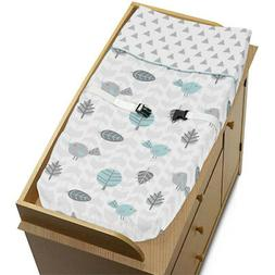 Sweet Jojo Changing Table Pad Cover For Turquoise Gray Earth