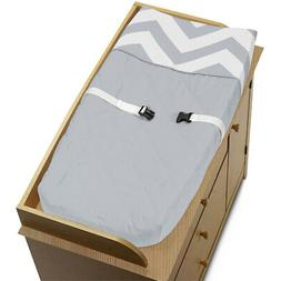 Sweet Jojo Changing Table Pad Cover For Gray And White Chevr