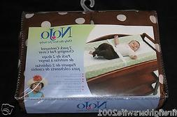 NoJo 2 pk contoured changing pad covers brown white dots new