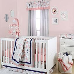 Coral Pink, Grey and Navy Floral 3 Piece Crib Bedding Set by