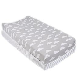 """Cotton Diaper Changing Pad Cover 2 Pack""""Stripes & Clouds"""" by"""