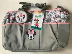 Diaper Bag + Bottle & Pacifier Tote Minnie Mouse Gray Pink F