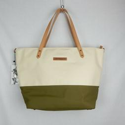 Petunia Pickle Bottom Downtown Tote Birch/Olive Glaze Coated