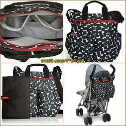SKIP HOP DUO SIGNATURE CUBES BLACK WHITE DIAPER BABY BAG TOT