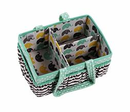Bacati Elephants Unisex Nursery Fabric Storage Caddy with Ha