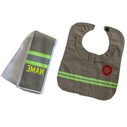 Firefighter Baby Burp Rag and Bib Made to Look Like Turnout