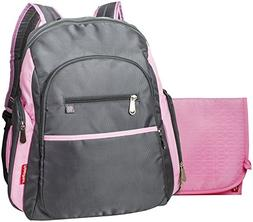 Fisher Price Ripstop Backpack Diaper Bag- Grey/Pink