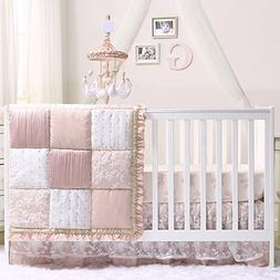 Grace 5 Piece Baby Girl Dusty Pink Crib Bedding Set by The P
