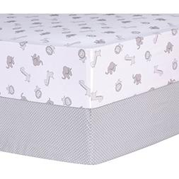Trend Lab Gray Safari and Dot 2 Piece Fitted Crib Sheets, Gr