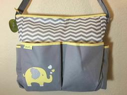 Little Me Gray Yellow Tote Diaper bag Elephant w/ Changing P