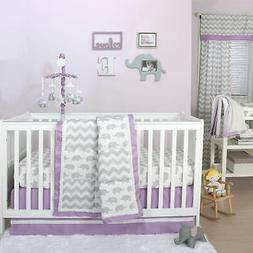 Grey Elephant and Chevron Patchwork 3 Piece Crib Bedding Set