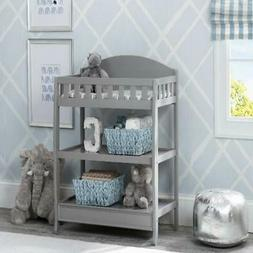 Grey Finish Changing Table W/ Pad+Open Under Storage Home Nu