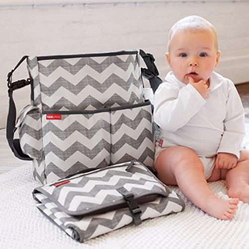 Skip Portable Changing with Cushioned Changing Wipes Chevron