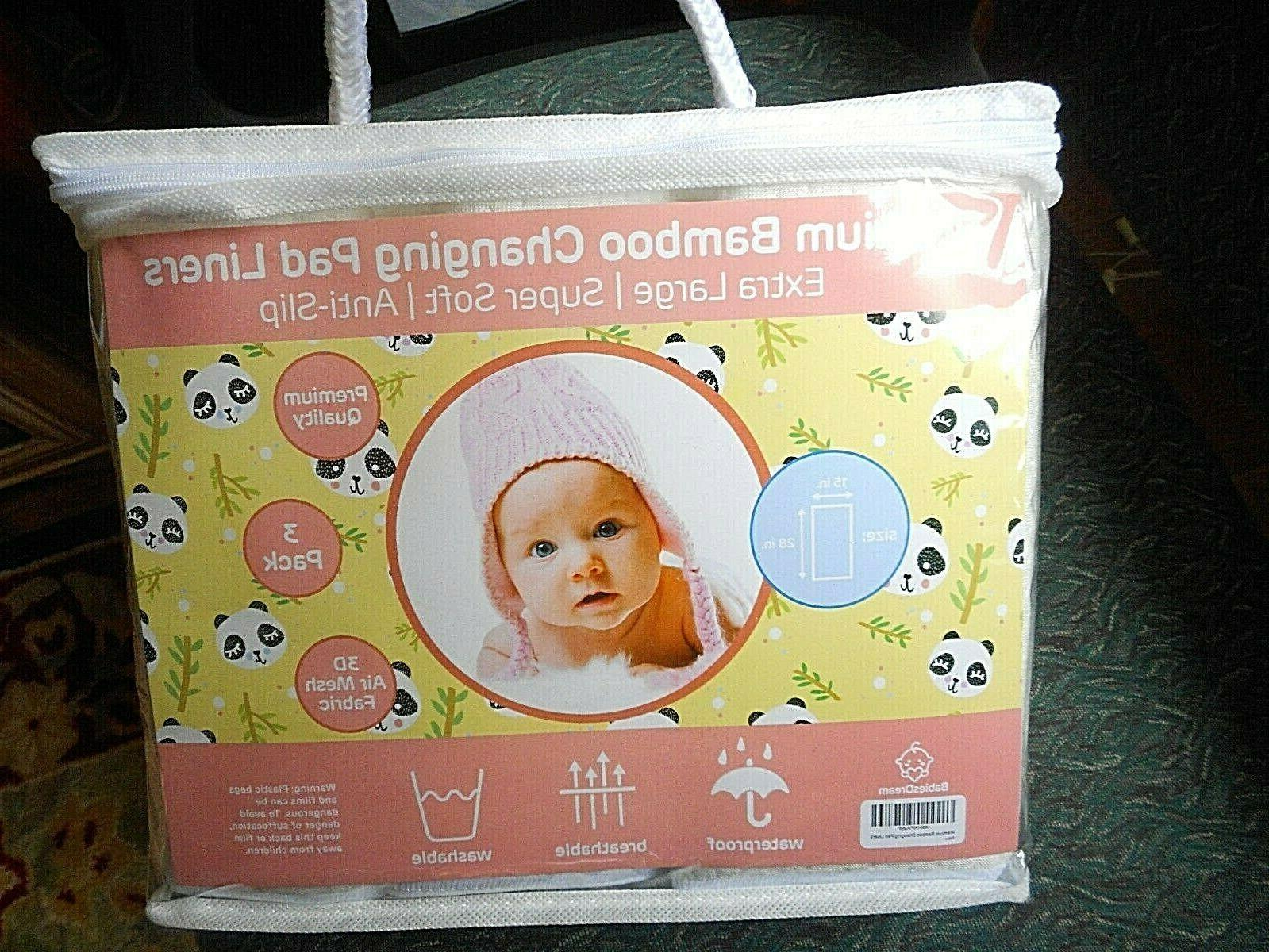 Baby Changing Pad Washable, Ex Large, 3 Pack