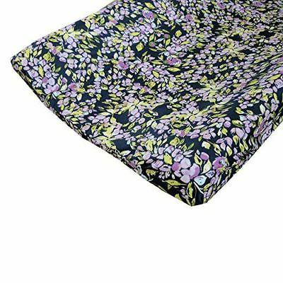 bougainvillea lilac and navy floral changing pad