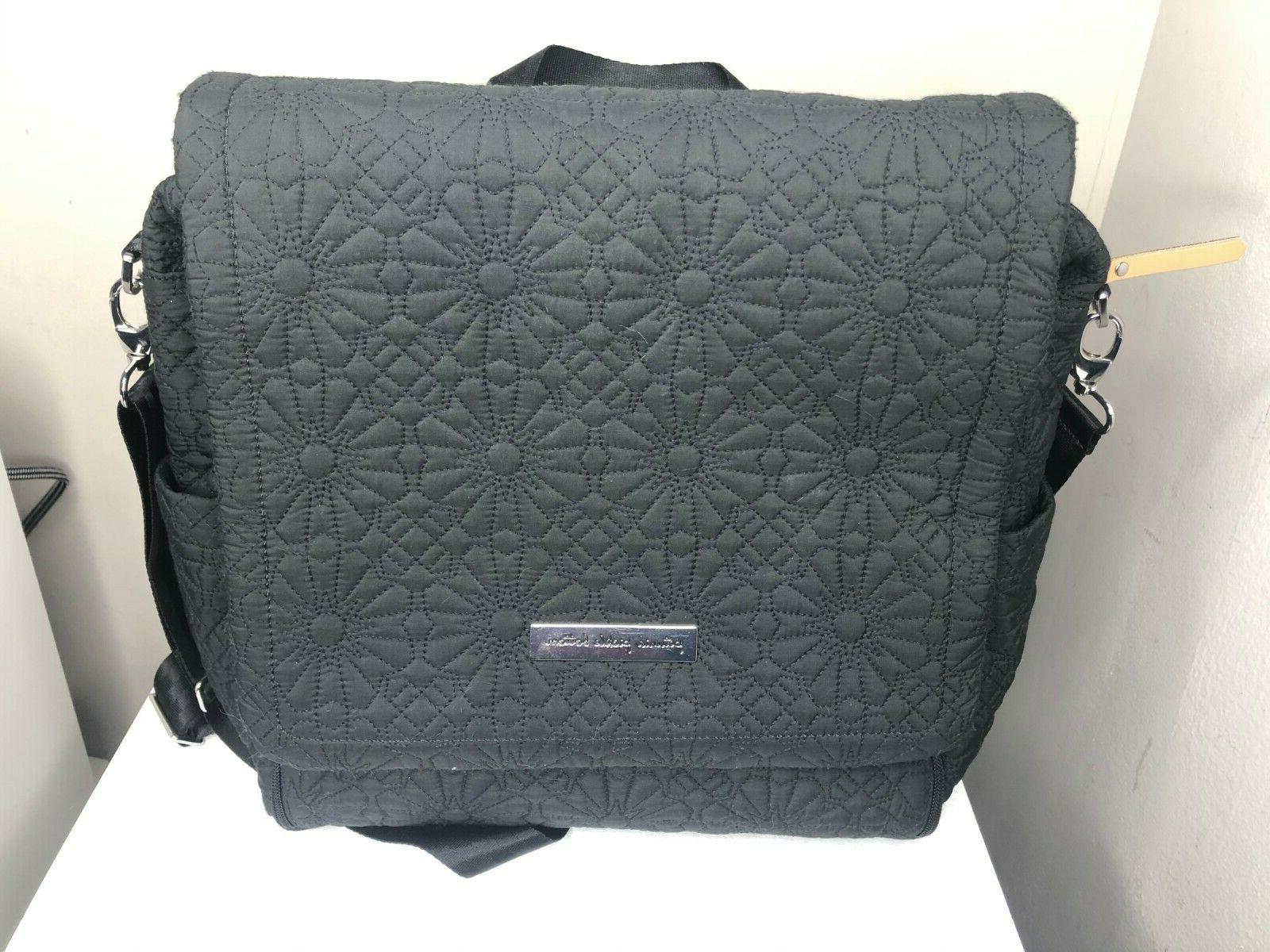 boxy backpack shoulder diaper bag gray quilted