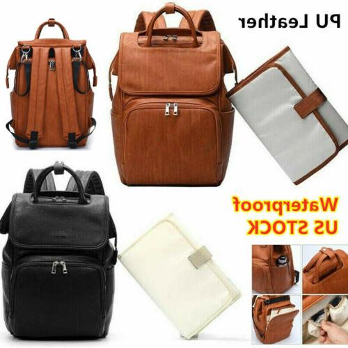 brown faux leather pu mummy diaper backpack