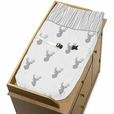 Changing Table Pad Cover For Sweet Jojo Grey White Woodland