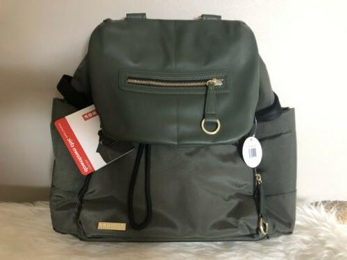 chelsea downtown chic diaper backpack green nwt