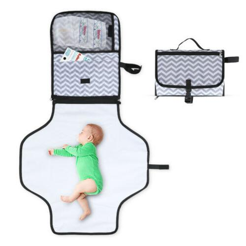 Diapering Bag Travel Kit Hopscotch Portable Changing Pad Waterproof Diaper Changing Station with Cushioned Mat for Baby or Toddler/  3 Pocket Clutch