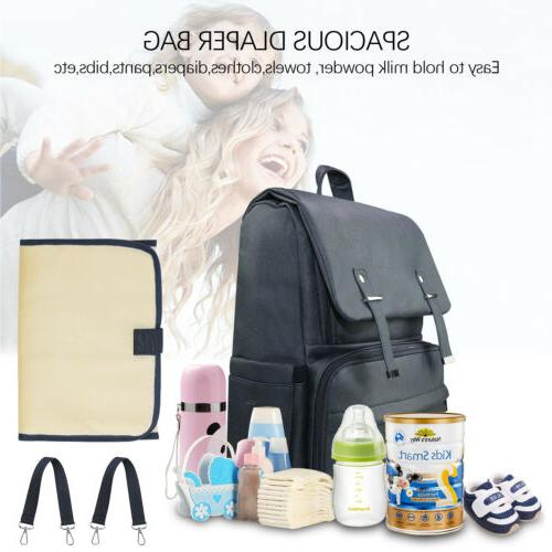 Diaper Backpack Leather Travel Capacity W/Changing Pad