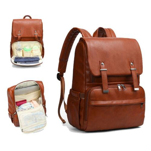diaper bag backpack leather travel large capacity