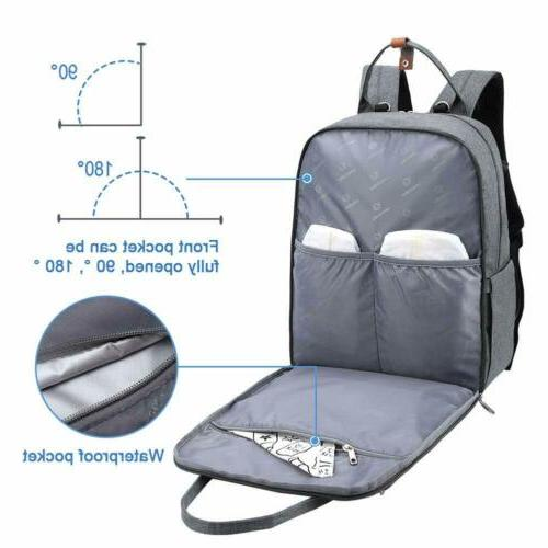 Mummy Diaper Bag Capacity Backpack Changing Pad Stroller