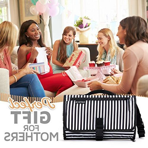 Portable Changing Pad Clutch, Travel Kit for Infant with Extra Long Mat by Pantheon,