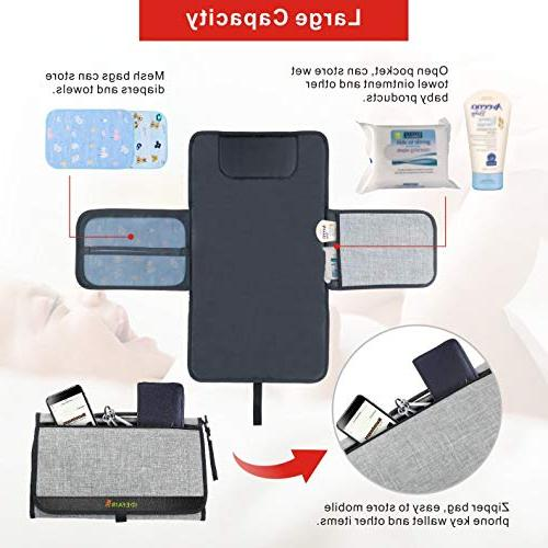 Diaper Changing Pad Portable Changing Change Mat Cushion Lightweight Diaper Mat with Pockets and Foldable by Idefair