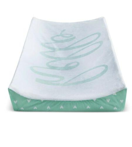 mint changing pad hello hearts green white