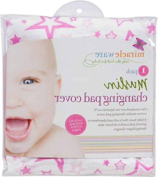 miracleware pink stars muslin changing pad cover